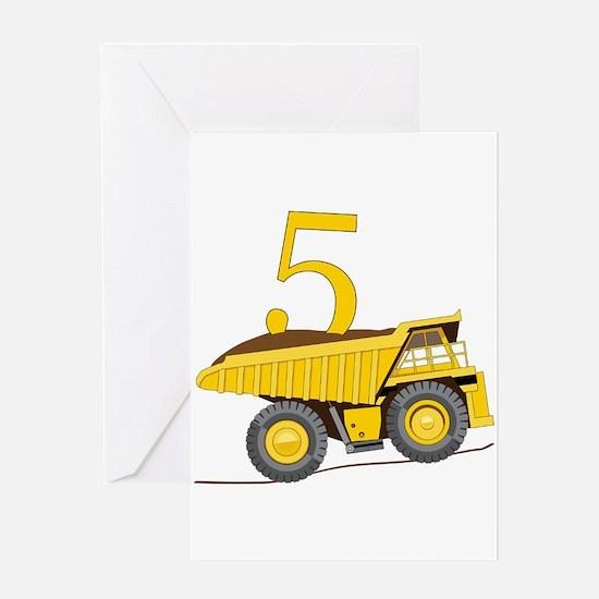 Dump Truck 5th Birthday Greeting Cards