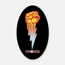 Unionize - Lightning Fist Oval Car Magnet
