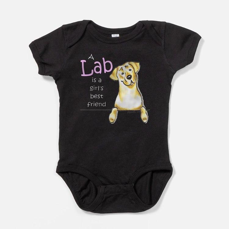 Cute Yellow labrador retriever Baby Bodysuit