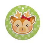 Reindeer Girl Polka dot Round Ornament
