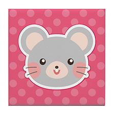Pink Easter Mouse Tile Coaster