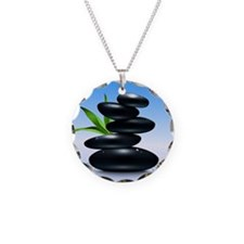 Zen Stones Necklace Circle Charm