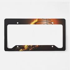Flaming Basketball License Plate Holder