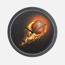 Flaming Basketball Wall Clock