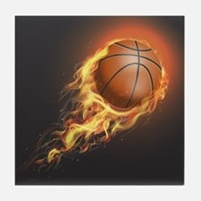 Flaming Basketball Tile Coaster