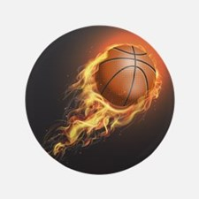 Flaming Basketball Button