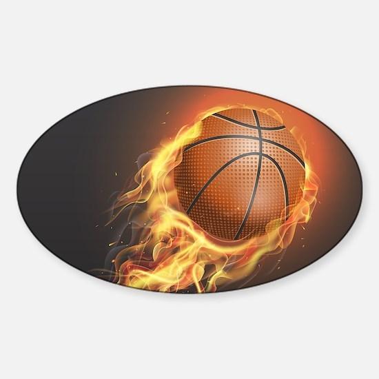 Flaming Basketball Decal