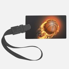 Flaming Basketball Luggage Tag