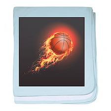 Flaming Basketball baby blanket