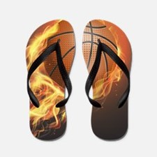 Flaming Basketball Flip Flops