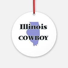Illinois Cowboy Round Ornament