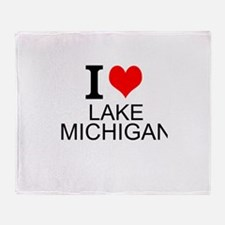 I Love Lake Michigan Throw Blanket