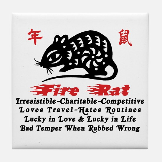 Chinese Zodiac Fire Rat Tile Coaster