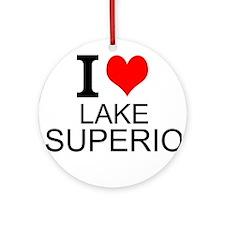 I Love Lake Superior Round Ornament