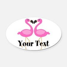 Personalizable Pink Flamingos Oval Car Magnet