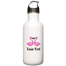 Personalizable Pink Flamingos Water Bottle