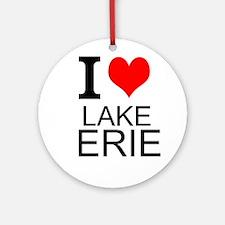 I Love Lake Erie Round Ornament