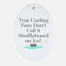 Curling Slogan Oval Ornament