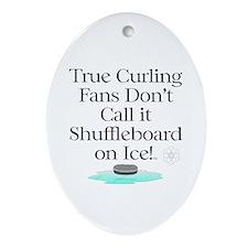 TOP Curling Slogan Oval Ornament
