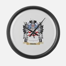 Tindel Coat of Arms - Family Cres Large Wall Clock