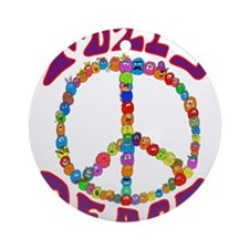 Fuzzy peace Round Ornament
