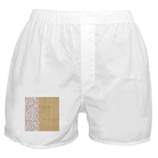 burlap and lace shabby chic Boxer Shorts