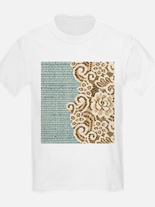 aqua vintage burlap and lace T-Shirt