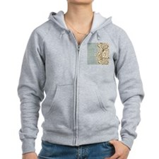 aqua vintage burlap and lace Zip Hoody