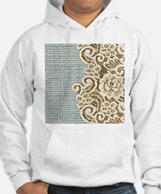 aqua vintage burlap and lace Jumper Hoody
