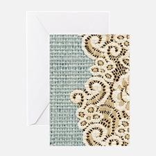 aqua vintage burlap and lace Greeting Cards