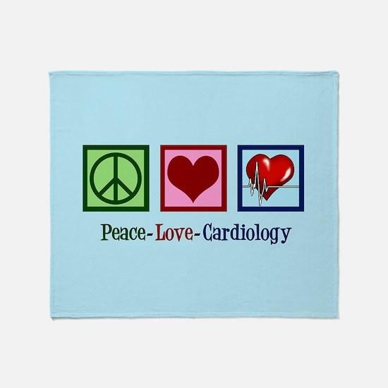 Peace Love Cardiology Throw Blanket