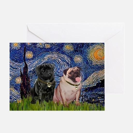 Starry Night / 2 Pugs Greeting Card