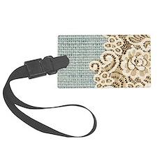 aqua vintage burlap and lace Luggage Tag