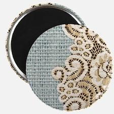 aqua vintage burlap and lace Magnets