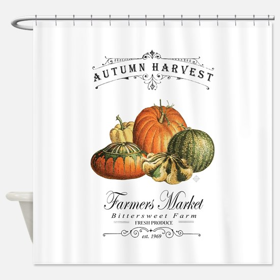 Modern vintage fall gourds and pumpkin Shower Curt