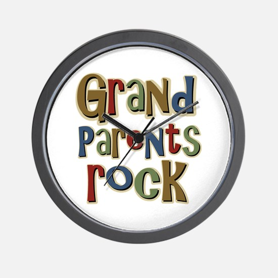 Grandparents Rock Day Holiday Wall Clock