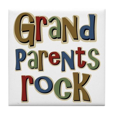 Grandparents Rock Day Holiday Tile Coaster