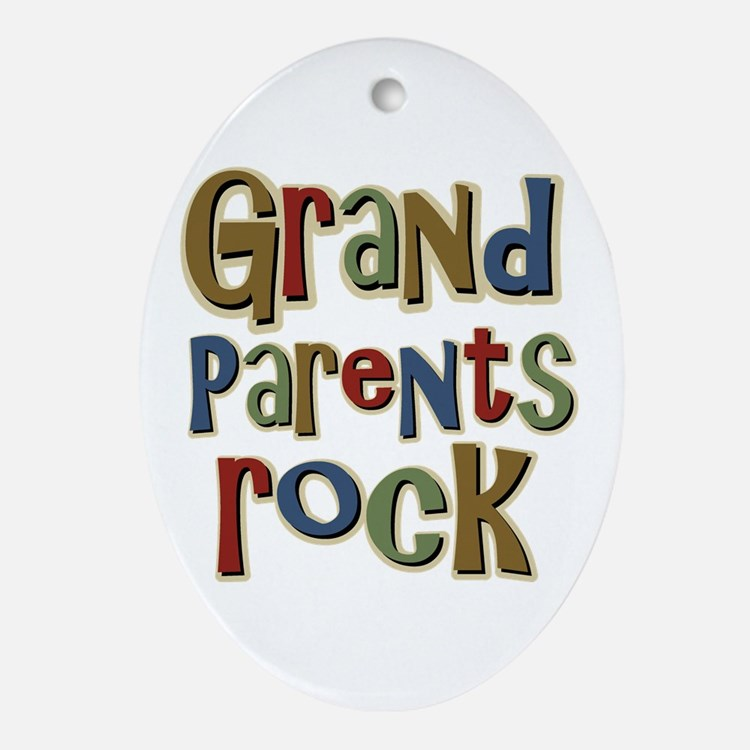 Grandparents Rock Day Holiday Oval Ornament