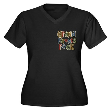Grandparents Rock Day Holiday Women's Plus Size V-