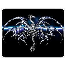 Blue Dragon on Lightning Sky Poster