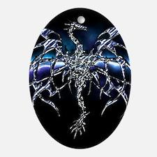 Blue Dragon on Lightning Sky Oval Ornament