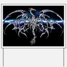 Blue Dragon on Lightning Sky Yard Sign