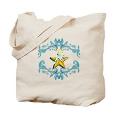 Blue Fairy on Yellow Star Tote Bag