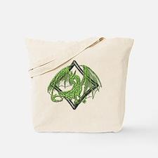 Green Dragon on Diamond Tote Bag