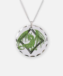 Green Dragon on Diamond Necklace