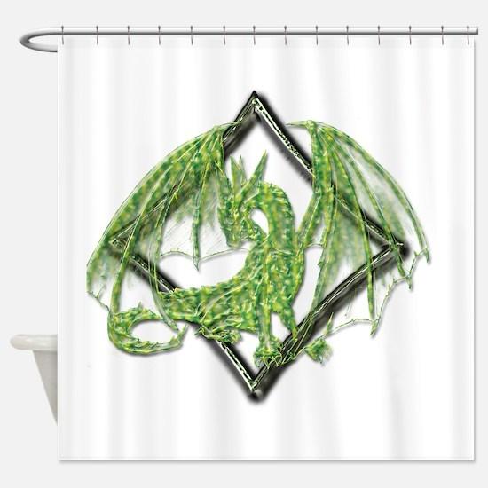 Green Dragon on Diamond Shower Curtain