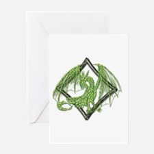 Green Dragon on Diamond Greeting Cards