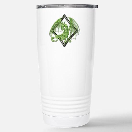 Green Dragon on Diamond Stainless Steel Travel Mug