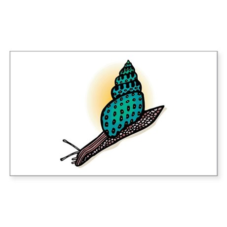 Pretty Turquoise Snail Rectangle Sticker