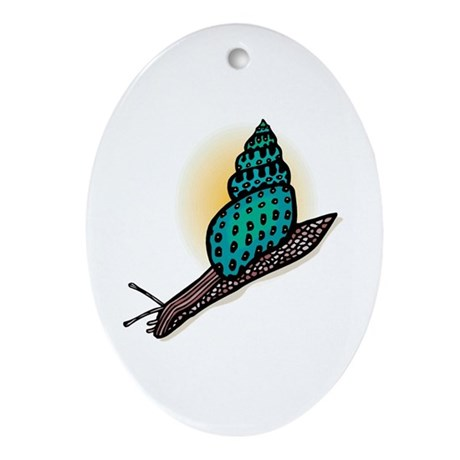 Pretty Turquoise Snail Oval Ornament